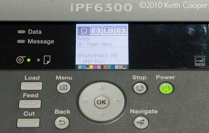 printer LCD display with print details
