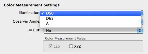 colour measurement settings
