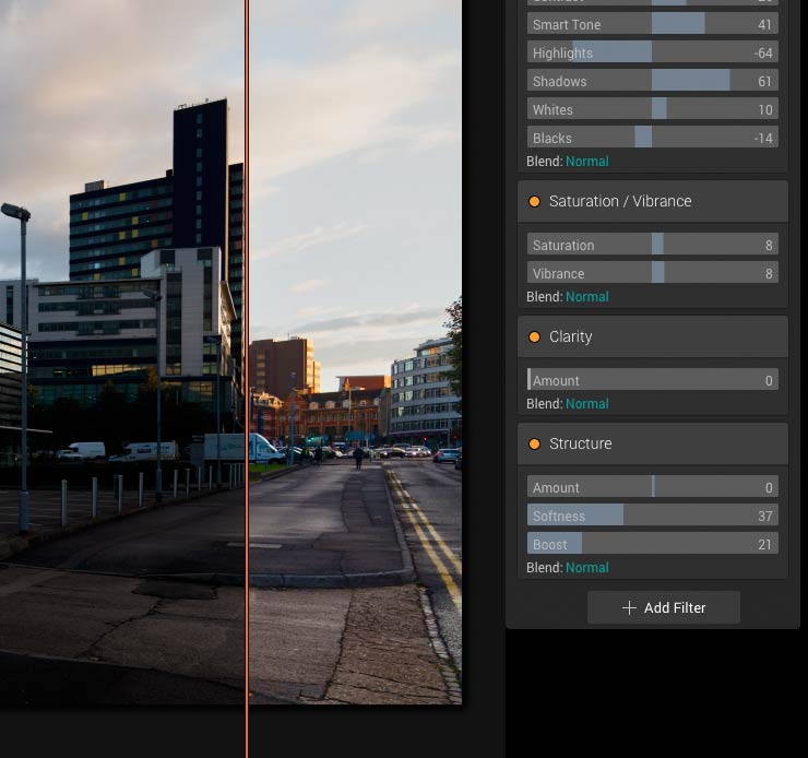 split view mode shows differences from editis