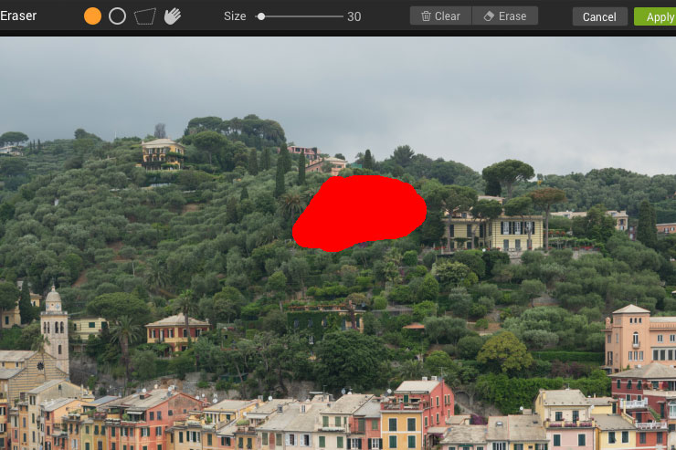 selecting area of image to erase