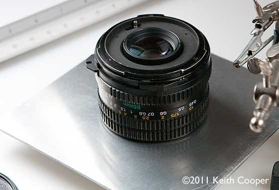 55mm lens mounted on lens board for macro use