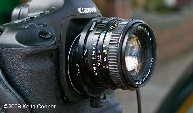 sekor C mamiya 80mm lens fitted on Canon