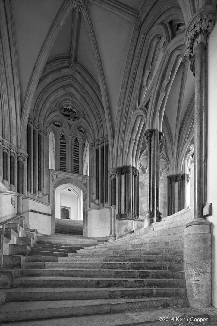 the sea of steps at wells cathedral