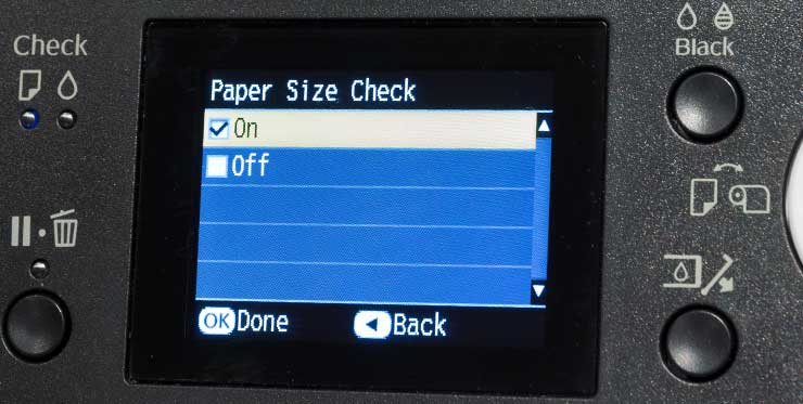 enabling automatic checking of paper size