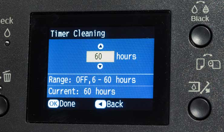 setting automatic printer cleaning timer