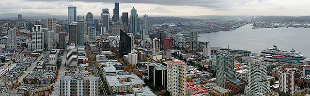 Panoramic view of Seattle, with Mt. Rainier in background