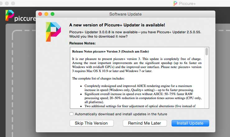 software update for piccure+