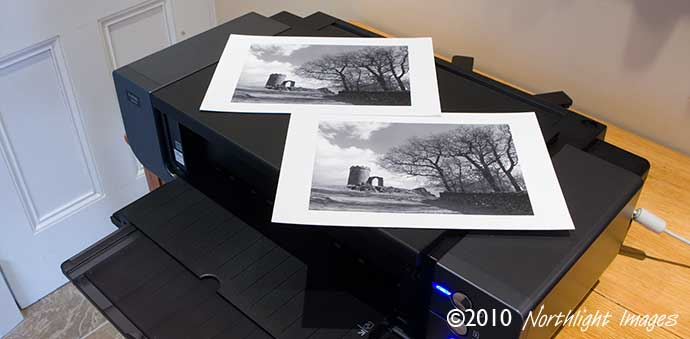 two monochrome test prints.