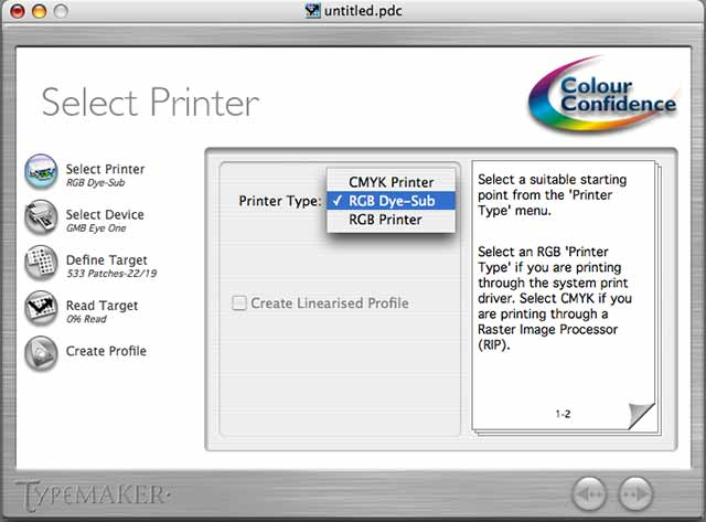 printer type selection - old version