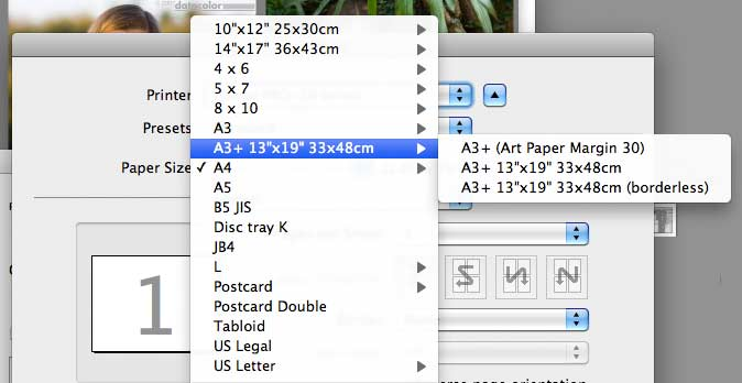 variety of printer settings for paper size