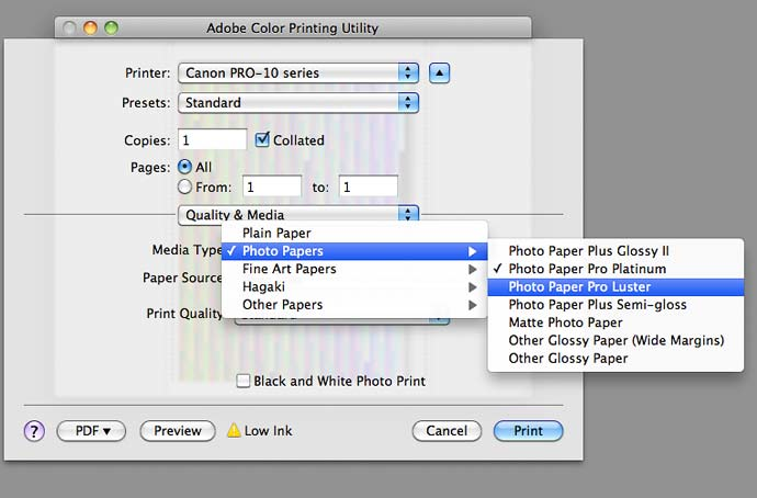 setting correct media type for profiling