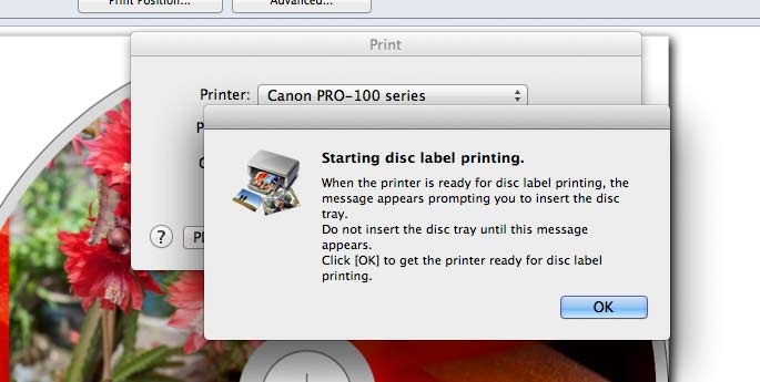 prompt to insert DVD tray into printer