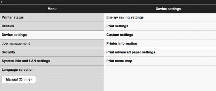 web interface for printer settings
