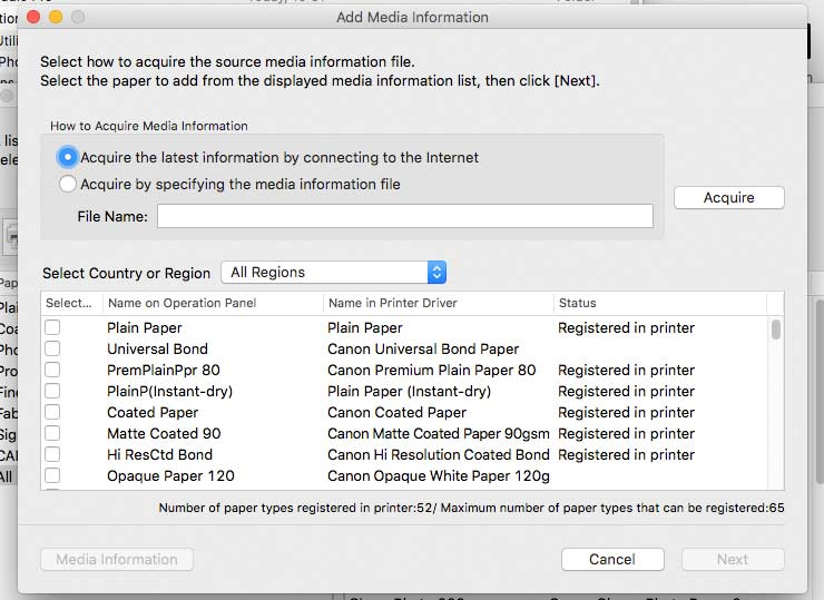 media types registered in printer