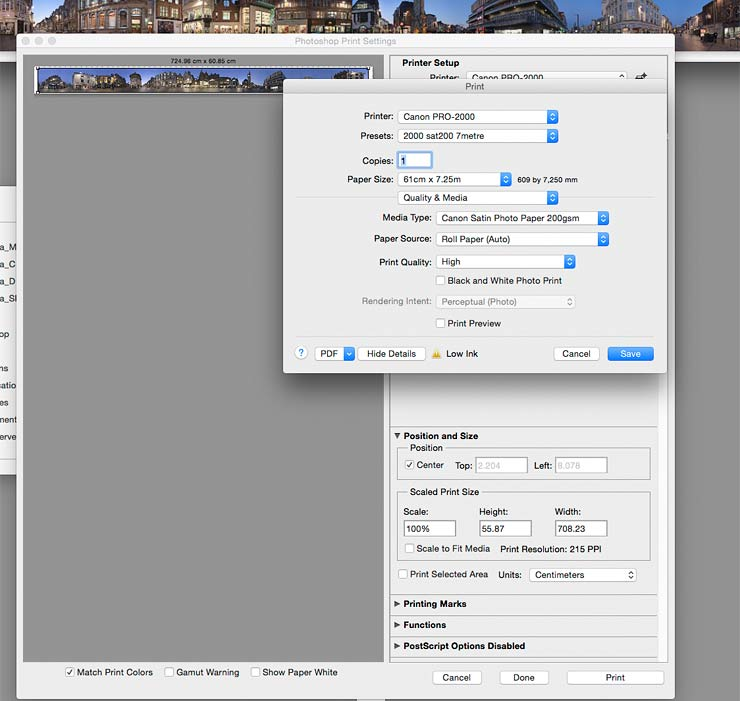large panoramic print test settings
