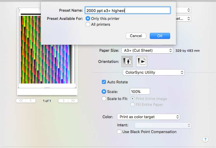 using colorsync utility to print profiling target