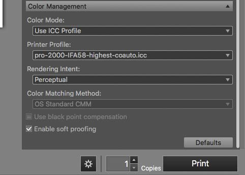 psp colour management options
