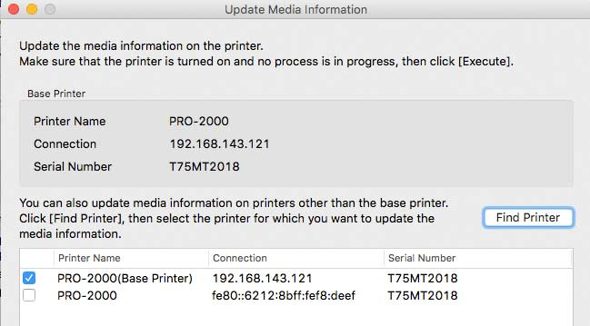 sending updated media info to printer