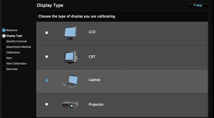 setting display type for calibration