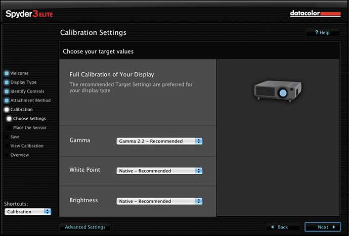 projector calibration settings