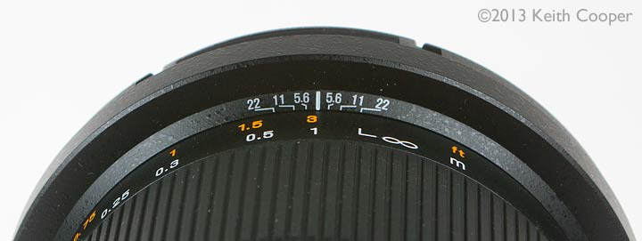 Lens depth of field scale