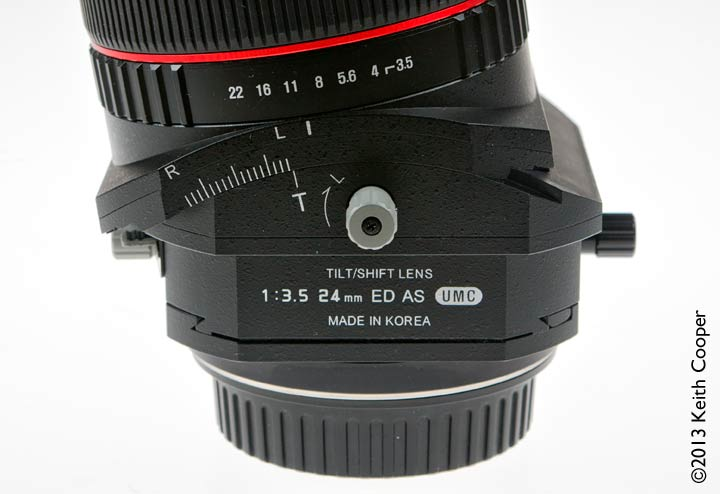 lens at maximum tilt setting