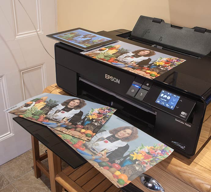 selection of prints produced directly from an iPad on the SC-p600