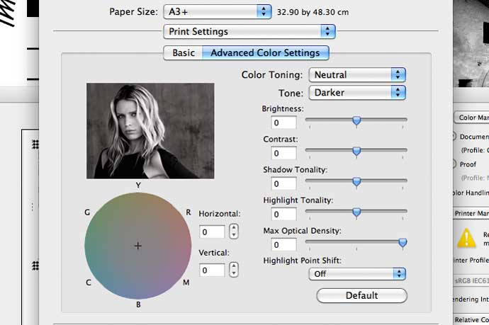 default B&W print settings for ABW