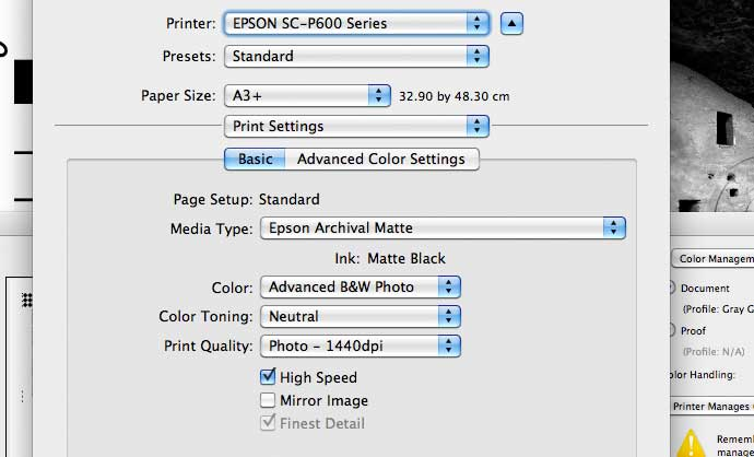 Printer driver setting for ABW mode printing