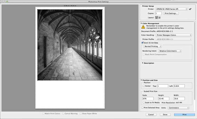 printing a black and white image from Photoshop