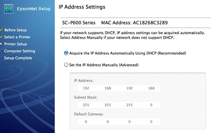 setting printer IP address