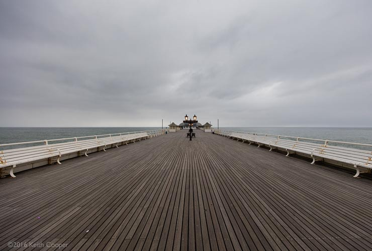 wide view of cromer pier at dusk
