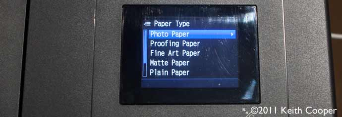 setting printer paper type