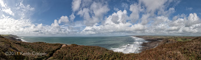 panoramic view of Widemouth bay in Cornwall