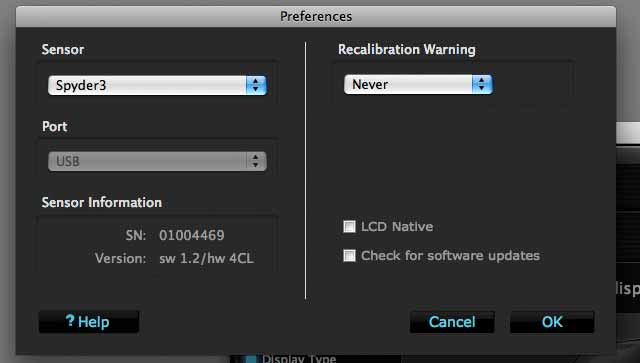 monitor calibration preferences