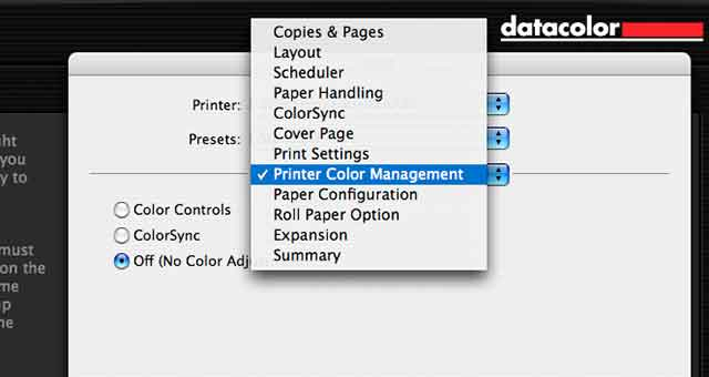 print with no colour management in the driver
