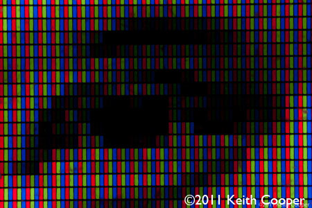 individual coloured pixels of a display