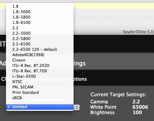 preset calibration options