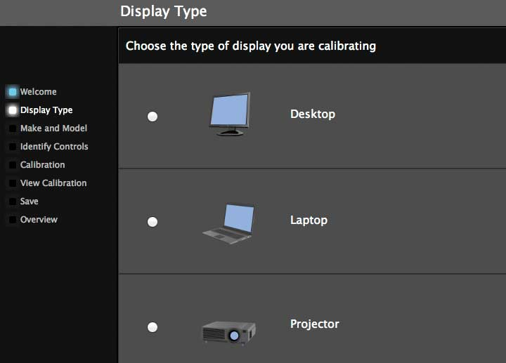 selecting monitor and display type