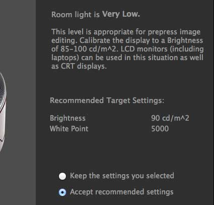 results of room lighting measurement