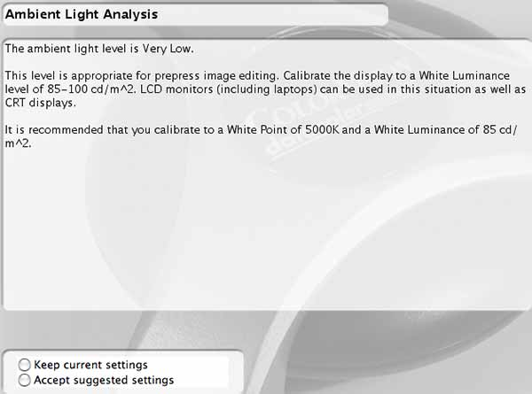 ambient light level results and suggestions for monitor profiling