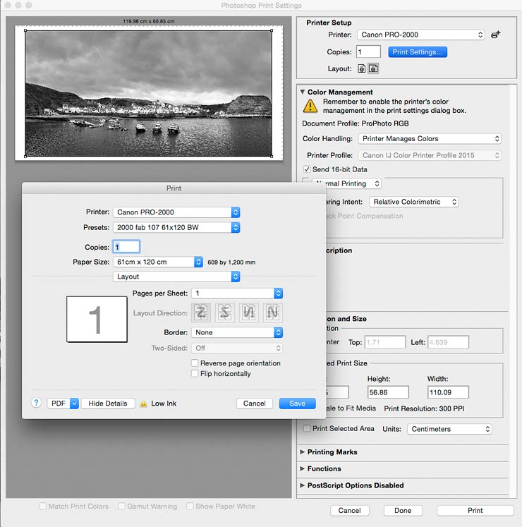 print dilog for printing image from photoshop