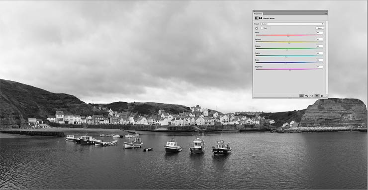 test application of a greyscale adjustment layer