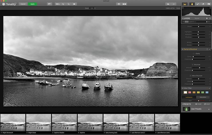 using tonality pro for black and white conversion