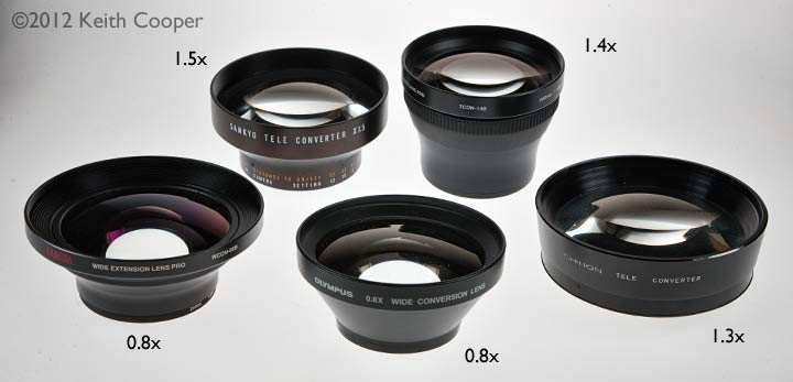 assorted tele and wide angle conversion lenses