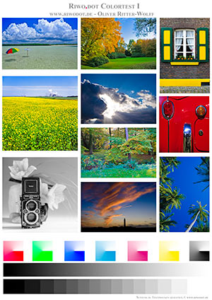 Printer test images colour and monochrome images for testing for Color printer test page