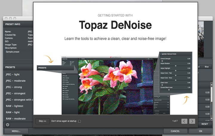 Topaz denoise startup screen and help