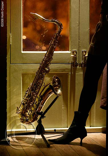 Tenor saxophone and Ola's leg