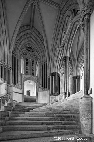 the steps to the chapter house, wells cathedral, England