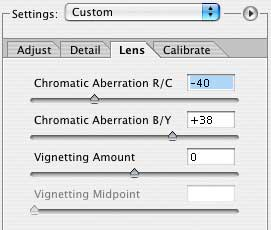 Removing chromatic aberration from raw format files